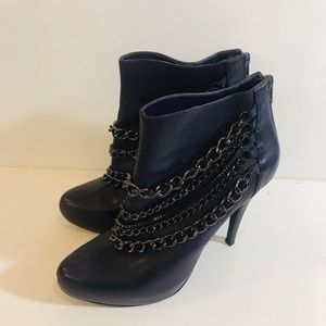 Women's Michael Purple Leather Chain Boots-Sz 8
